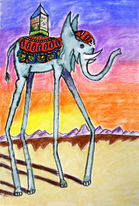 http://elementaryartfun.blogspot.com/2011/03/salvador-dali-elephants-and.html