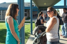 Principal Williams greets parents as they arrive on campus.