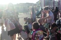 Brand new kindergarteners line up to meet their teacher.
