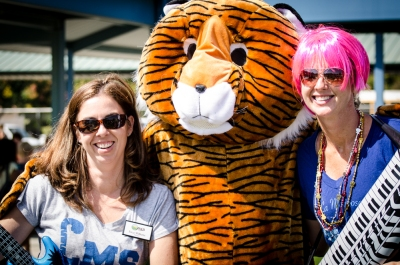 Principal Erica Williams with Jog-a-thon Co-chair Kelly Long and our Terrific Tiger