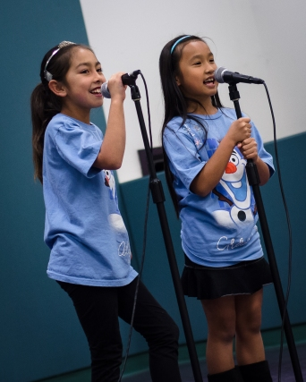 "Alyssa & Chloe singing a duet, ""Let It Go"""