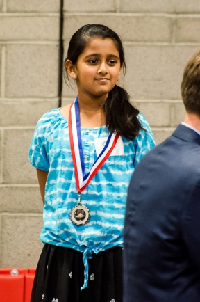 """Tanvi and her bronze medal in Speech. """"I - WANT - MY - APPLE JUICE!"""""""